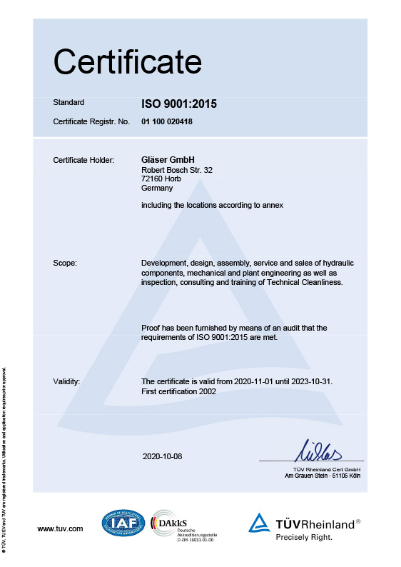 Certificate ISO 9001<br>english Version