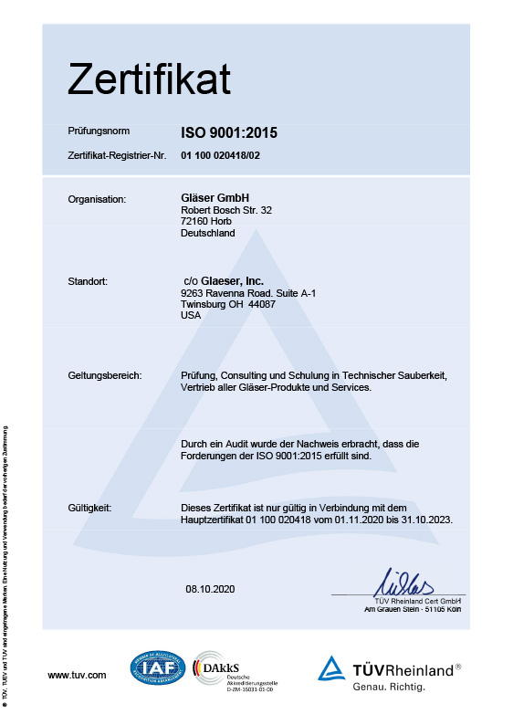 Zertifikat ISO 9001<br>Version USA