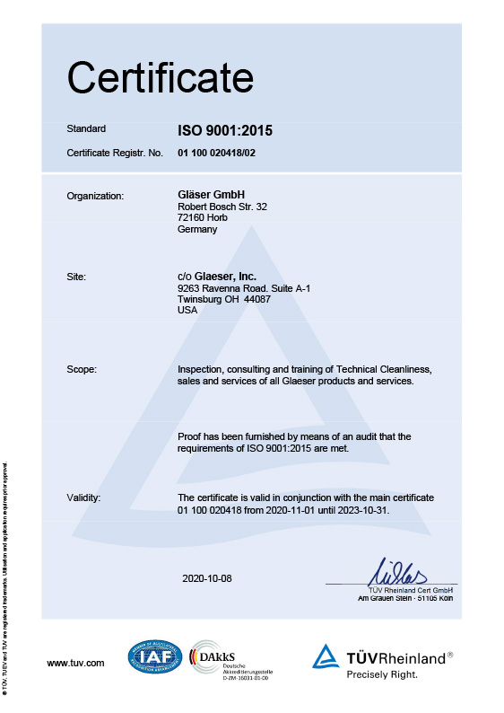 Zertifikat ISO 9001<br>Version China